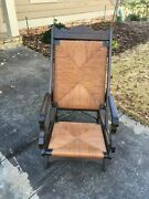 Antique Victorian Lawn Chair/recliner Wood With Rush Seat And Back