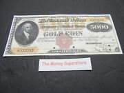 Reproduction U.s. 5000 Gold Coin Dollar Bill Series 1882 Large Size 111