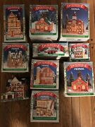 10 Dickensville Christmas Village Lighted House Buildings Vintage Lot Noma