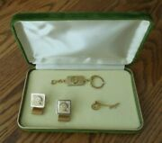 Ultra Rare 1960's Green Bay Packers Cuff Links Tie Tack Key Ring Chain Gift Set