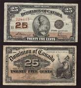 2x Canada 25 Cent Banknotes 1900 And 1923 Shinplasters Mccavour And Bolville Vf
