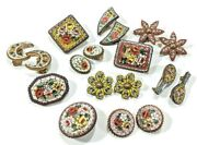 Vintage Antique Italian Italy Micro Mosaic And Gilt Metal Brooch Pin Earrings Lot