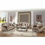 Traditional Living Room Furniture Sofa Set Antique Silver Finish Button Tufted