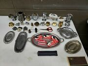 Vintage Table Lighter Parts Lot Inserts Ashtray Trays Brass Steel Pewter