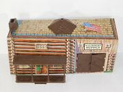 Vtg Marx Fort Apache Play Set Us Cavalry Supply Tin Litho Building Indian Toys