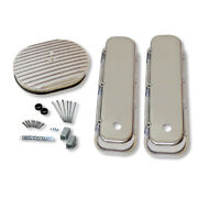 For 1965-1995 Bbc Smooth Top Tall Valve Covers W/ Full Finned Air Cleaner Kit