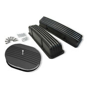 For Sbc 327 350 Finned Tall Valve Covers And 12 X 3 Oval Half Finned Air Cleaner
