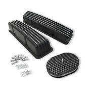 For Sbc 327 350 Finned Tall Valve Covers And 12 X 2 Oval Full Finned Air Cleaner
