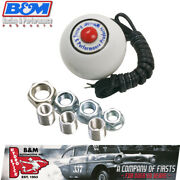 Bandm 46112 Round White Shifter Knob W/red Momentary Button High Strength Plastic