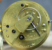 Silver English Fusee Lever Pocket Watch W.a. Gregory Exeter 38447 J2ab