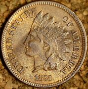 1873 Indian Head Cent Open 3 - Au With Lots Of Color Old Cleaning M048