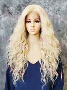 Light Blonde Mix Long Wavy Heat Ok Lace Front/top Human Hair Blend Wig Evff