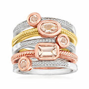 Morganite And Diamond Set Set Of Five Rings In Sterling Silver And 18kt Gold Over