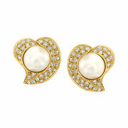 Vintage 11mm Cultured Mabe Pearl And Diamond Heart Earrings In 18kt Gold