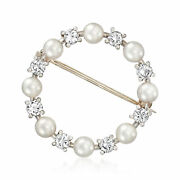 Vintage 4mm Cultured Pearl And Diamond Open-circle Pin In Platinum