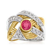 Vintage Ruby And Diamond Ring In Platinum And 18kt Gold Size 6.5