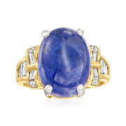 Vintage Tanzanite And Diamond Ring In 18kt Gold Size 7