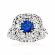 Vintage Tresorra Sapphire And Diamond Ring In 18kt White Gold Size 6