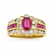 Vintage Ruby And Diamond Ring In 18kt Gold Size 5