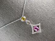 Large 1.20ct White And Canary Diamond And Aaa Pink Sapphire 14kt White Gold Pendant