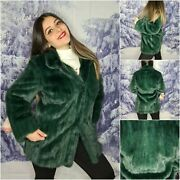 Green Mink Fur Jacket Handmade Made In Italy Haute Couture Mink Coat