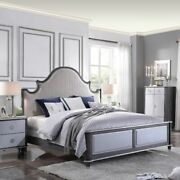 Eastern King Size Bed 1pc Bedroom Furniture Two Tone Beige Fabric Grid Pattern