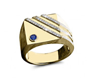 Real Diamond Natural Blue Sapphire Gemstone 22k Yellow Gold Menand039s Ring