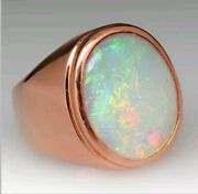Natural Fire Opal Gemstone 18k Rose Gold Men's Ring Jewelry 036g