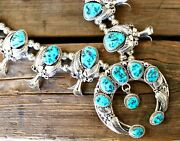 Traditional 4 Piece Squash Blossom Necklace Set Kingman Turquoise R Kelly Signed