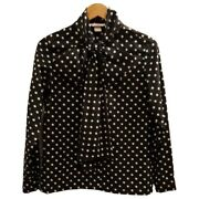 Vintage 1970s Black And White Polka Dot Pussybow Blouse By Elles Belles