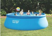 Intex 15and039 X 48 Inflatable Easy Set Above Ground Swimming Pool W/ Ladder And Pump
