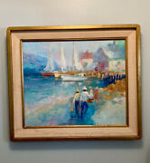 John A. Minol Signed Painting Of Ships And Women