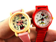 Lot 2 Lorus Minnie Mouse Wristwatch Pink And Red Untested Nice Walt Disney
