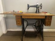 Vintage Singer Sewing Machine In Manual Pedal Cabinet Stand W/key