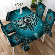Blue Skull Death Moth Gothic Rectangle Tablecloth Chair Covers Dining Table Set