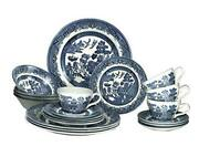 Blue Willow Plates Bowls Cups 20 Piece Dinnerware Set Made In 20 Piece Set
