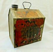 Rare Early Towle's Log Cabin Tin Antique Syrup Can W/ Paper Label, Handle And Cap