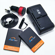 Long Lasting 2x 3000mah Battery Car Charger Cable For Lg Optimus Zone 2 Vs415pp