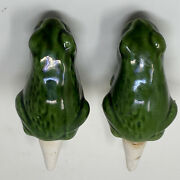 Vintage Ceramic Frog Plant Waterers Set-2 Green Detailed Water Spike Collectible