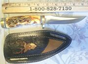 Schrade 153uh Golden Spike Uncle Henry Fixed Blade Knife W/leather Cust. Sheath