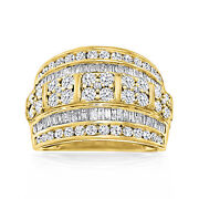 Ross-simons Baguette And Round Diamond Multi-row Ring In 18kt Gold Over Sterling