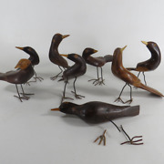 8 Vintage Hand Carved Wood Bird Figurines With Wire Legs And Feet