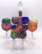 Czech Bohemian Cut To Clear Multi-colored Wine Decanter And 12 Goblets Glasses Set