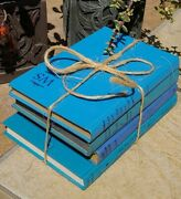 4 Vintage Decorative Book Lot Bright Light Baby Blue Display Staging Decor