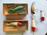Lot Of Five 5 Vintage Bomber Fishing Lures 4 Wooden 2 With Box And Papers