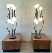 Ex Large 1970and039s Mid Century Modern Space Age Chrome Globe 6 Light Table Lamp