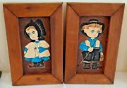 Dolores Hackenberger Amish Boy Girl Oil Painting Pair Wooden Folk Art Signed