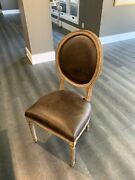 Rh Vintage French Round Leather Side Chair