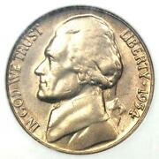 1954 Jefferson Nickel 5c Coin - Ngc Ms66 5fs - Rare Full Steps - 1000 Value