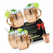 Moscow Mule Copper Mugs [gift Set] - Set Of 4 Hammered Pure Copper Cups 16 Oz...